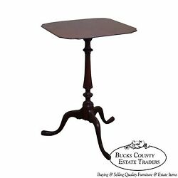 Nathan Margolis Hand Crafted Solid Mahogany Hepplewhite Candle Stand Side Table