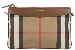 BURBERRY WOMEN'S CLUTCH WITH SHOULDER STRAP HANDBAG BAG PURSE NEW  PEYTON BE F11
