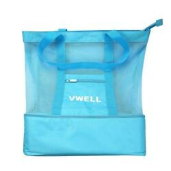 Mesh Beach Bag Insulated Picnic Cooler Tote With Zipper Top By VWELL