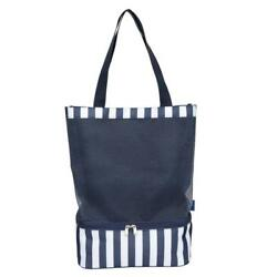 Beach Bag Mesh Cooler Tote Navy Stripe Insulated Lunch ABNII 2 Compartments...