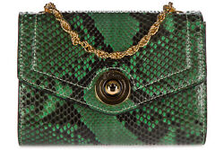 D'ESTE WOMEN'S CLUTCH WITH SHOULDER STRAP HANDBAG BAG PURSE NEW  PITONE GREE 45C