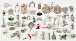 Vintage Sterling Silver Charm Bracelet Charms Moving Moveable Lot Beau Wells Fan