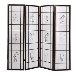 4 Panel Folding Shoji Room Screen Divider with Flowered Pattern Privacy