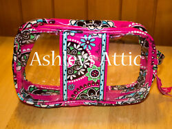 NEW Vera Bradley Clear Cosmetic Travel Makeup Bag Case Airplane CHOOSE COLOR