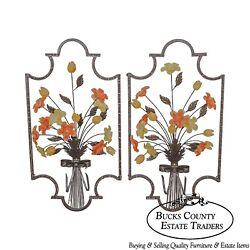 C. Jere Signed Pair Of Metal And Glass Flower Hanging Wall Sculptures