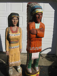 Vintage Life Size Cigar Indian Chief And Indian Women W Papoose Woodcarving