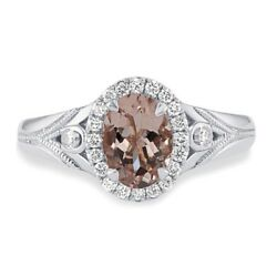 1.0 Ct Genuine Oval Morganite French Pave Halo Engagement Ring In 14k White Gold
