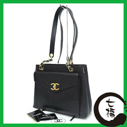 Auth CHANEL Caviar Chain Women Caviar skin tote bag