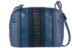BOTTEGA VENETA WOMEN'S LEATHER CROSS-BODY MESSENGER SHOULDER BAG BLUE C63