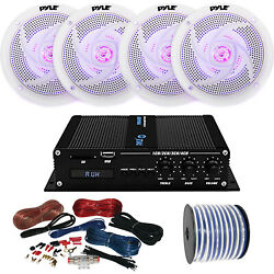 Pyle Marine 4-channel Bluetooth Amp + Kit 4x 4 White Led Speakers 50 Ft Wire