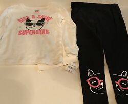 Carters Girls Size 4T Two 2 piece Pajama Set Shirt Pants Boston Terrier
