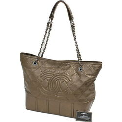 Auth CHANEL Women calf tote bag