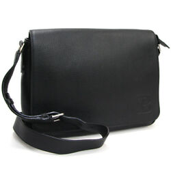 BALLY Shoulder Bag Crossbody Black Leather Auth Mens Free Shipping Mint #0737