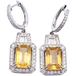 $16500 Appraisal - Estate Golden Yellow Sapphire Earrings in 18K White Gold