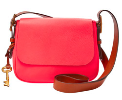 Fossil Harper Small Crossbody Bag **NEW W TAGS RRP$279** NeonCoral WITH DUST BAG