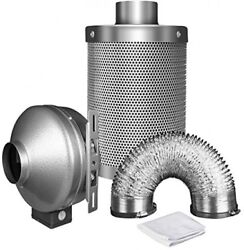 iPower 4 Inch 190 CFM Duct Inline Fan with 4 Carbon Filter 8 Feet Ducting Combo