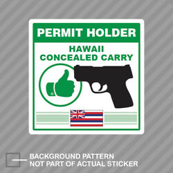 Hawaii Concealed Carry Permit Holder Sticker Decal Vinyl 2a Permited V2