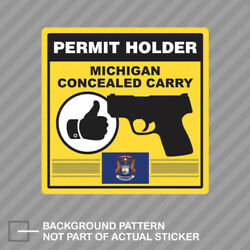 Michigan Concealed Carry Permit Holder Sticker Decal Vinyl 2a Permited
