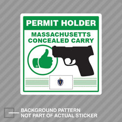 Massachusetts Concealed Carry Permit Holder Sticker Decal Vinyl 2a Permited V2