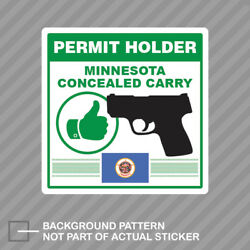 Minnesota Concealed Carry Permit Holder Sticker Decal Vinyl 2a Permited V2