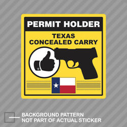 Texas Concealed Carry Permit Holder Sticker Decal Vinyl 2a Permited