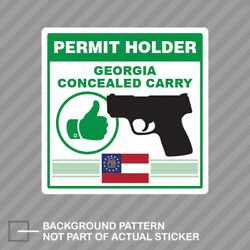 Georgia Concealed Carry Permit Holder Sticker Decal Vinyl 2a Permited V2