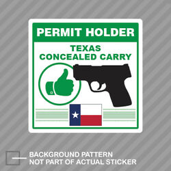 Texas Concealed Carry Permit Holder Sticker Decal Vinyl 2a Permited V2