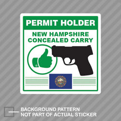 New Hampshire Concealed Carry Permit Holder Sticker Decal Vinyl 2a Permited V2