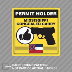 Mississippi Concealed Carry Permit Holder Sticker Decal Vinyl 2a Permited