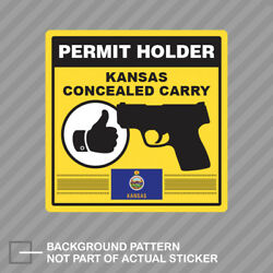 Kansas Concealed Carry Permit Holder Sticker Decal Vinyl 2a Permited