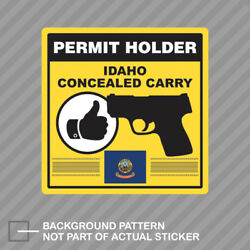 Idaho Concealed Carry Permit Holder Sticker Decal Vinyl 2a Permited
