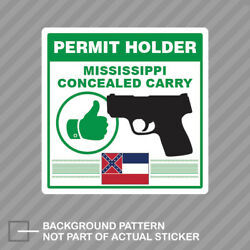 Mississippi Concealed Carry Permit Holder Sticker Decal Vinyl 2a Permited V2