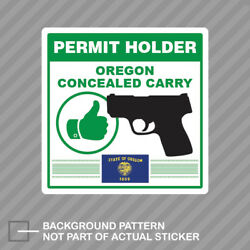 Oregon Concealed Carry Permit Holder Sticker Decal Vinyl 2a Permited V2