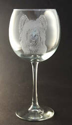 New! Etched Skye Terrier on Large Elegant Wine Glasses - Set of 2