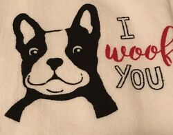 BOSTON TERRIER Hand Towels White And Black 18 X 28  Set Of 2
