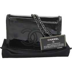 Auth CHANEL Chain wallet Women Patent leather Long wallet (with coin purse)
