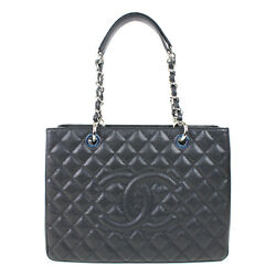 Auth CHANEL Women Caviar skin tote bag