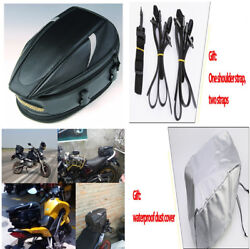 Motorcycle Sport Back Seat Bag Helmet Tank Bag+Rain Cover+Buckle Carrying Strap