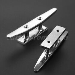 1 Pair Boat Yachting Cleats 5 125mm Flat Top Low Marine 316 Stainless Hardware