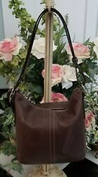 Coach brown leather bucket crossbody shoulder bag