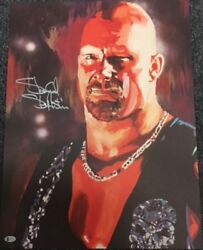 Autographed Stone Cold Steve Austin 18 X 24 Print, Pose Poster Painting Wwe Wwf