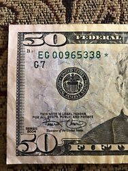 Very Rare 2004 50 Star ✯ Note Chicago Frb 50 Dollar Bill Eg 00965338 ✯ Low