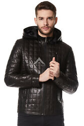 Menand039s Leather Hoodie Black Real Veg Leather Sport Removeable Hood Jacket 3043