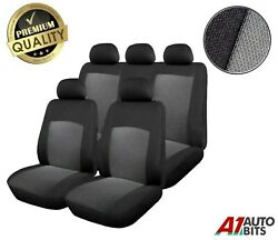 Universal Car Seat Cover Set 9 Pieces Grey Black Washable And Airbag Compatible
