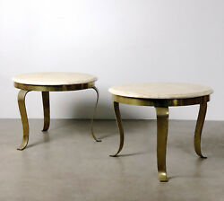 Pair Mid Century Modern Brass Onyx Marble Round End Side Tables Muller Mexico