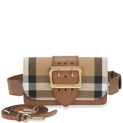 Burberry Small Buckle Bag in House Check and Leather - Tan