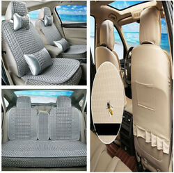 Luxury Cooling Ice Silk Woven 5 Seats Car Seat Cover Protector W/Comfort Pillows