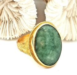 Antique 1800and039s Chinese 22 Karat Yellow Gold Natural Green Jade Ring Signed.