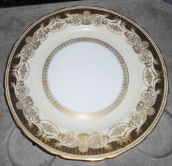 4 Noritake Hand Painted M Gold Floral Cream Dinner Plates Vintage 10 1/2 Cabinet