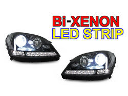 DRL LED Blk Bi-Xenon HID Projector Headlight For 06-08 Mercedes W164 MML Class